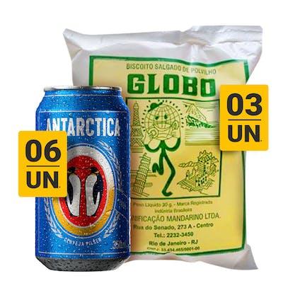 Combo Antarctica + Biscoito Globo Salgado (6 Antarctica Pilsen 350ml + 3 Biscoito Globo)