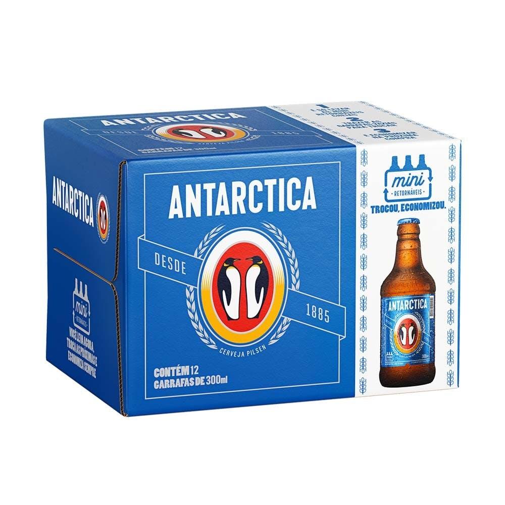 Antarctica Pilsen 300ml Pack 12 Unidades | Vasilhame Incluso