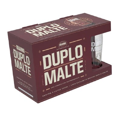 Kit Brahma Duplo Malte 6 Latas 350ml + 1 Copo 330ml