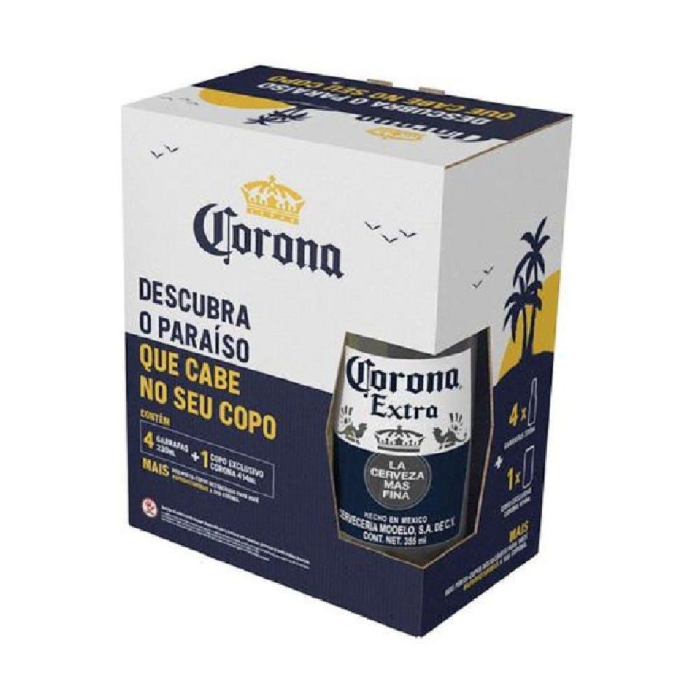 Kit Cerveja Corona 4 Long Neck 330ml + 1 Caldereta 414ml