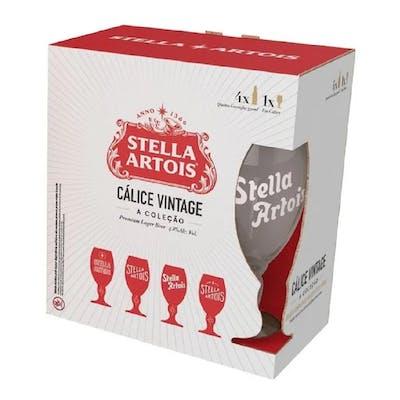 Kit Stella 4 Long Neck 330ml + Cálice Vintage 330ml