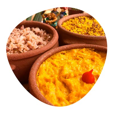 Pratim 2 - vatapá de frango, calabresa acebolada, paçoca, arroz branco 500g