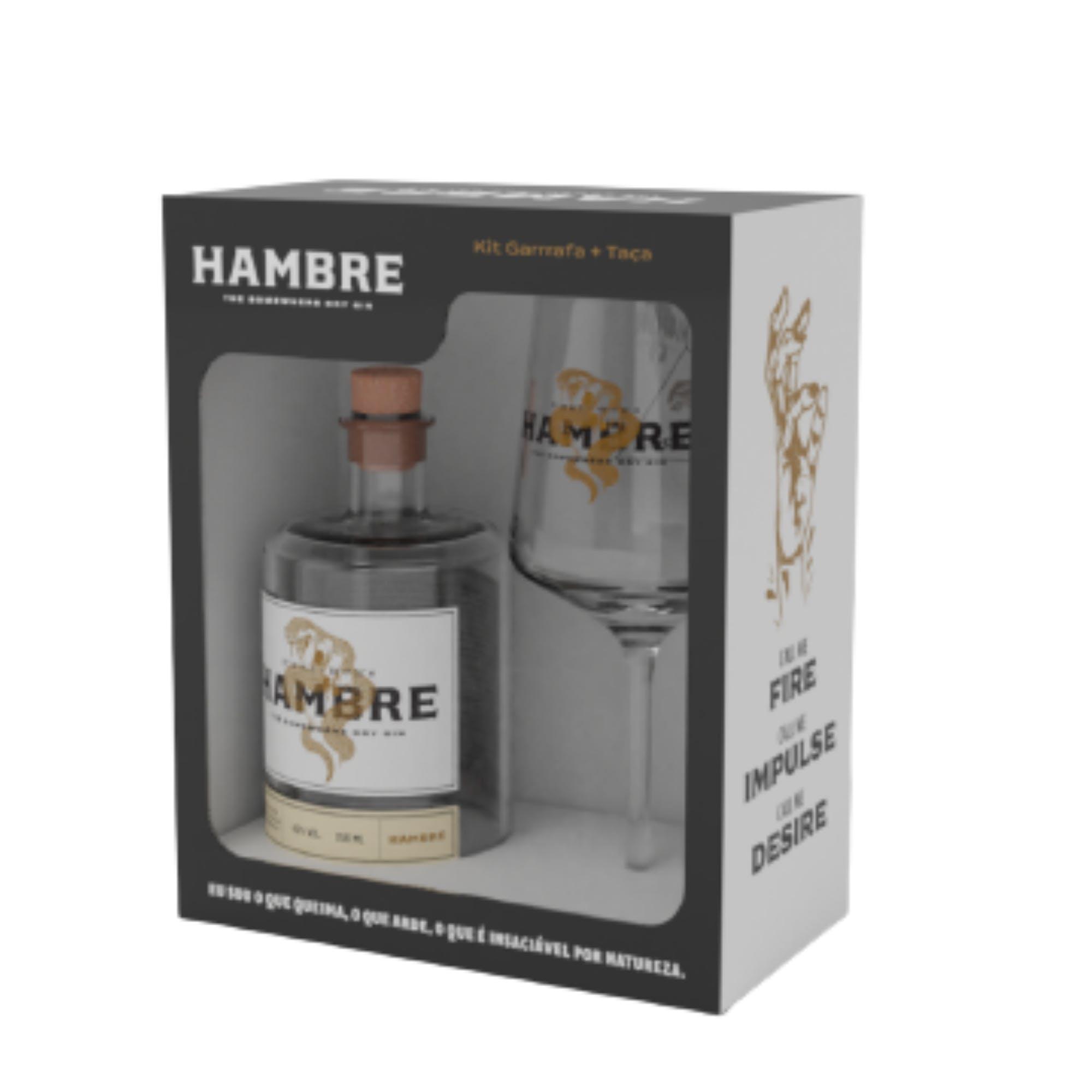 Kit Hambre Gin 750ml + Taça de Vidro 490ml