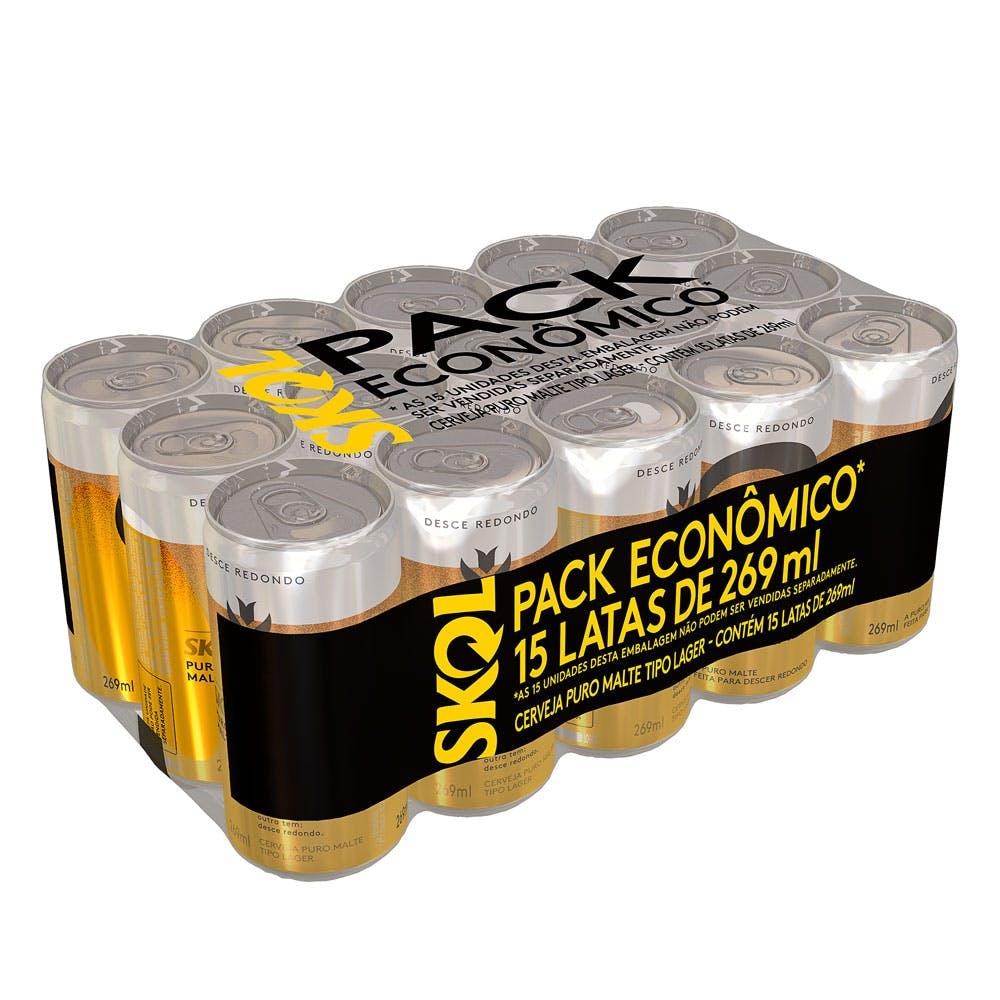 Skol Puro Malte 269ml - Pack com 15 Unidades