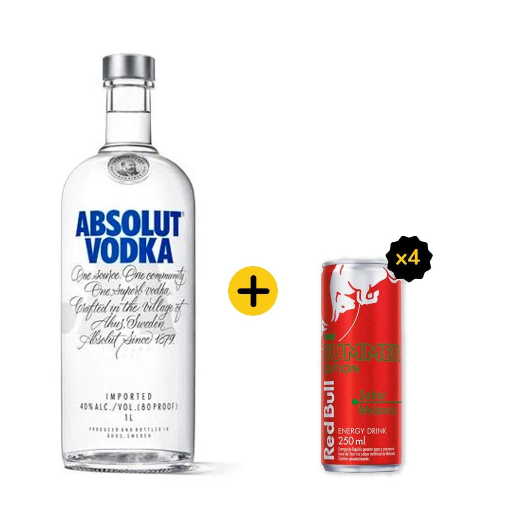 Combo Absolut + Red Bull (1 Vodka Absolut Original 1L + 4 Red Bull Melancia 250ml)