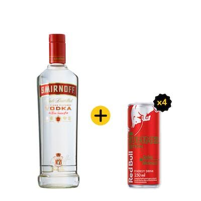 Combo Smirnoff + Red Bull (1 Vodka Smirnoff 998ml + 4 Red Bull Melancia 250ml)