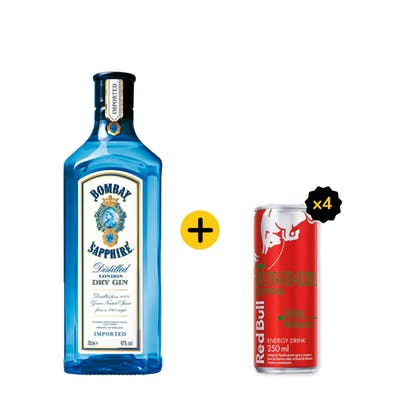 Combo Bombay + Red Bull (1 Gin Bombay Sapphire 750ml + 4 Red Bull Melancia 250ml)