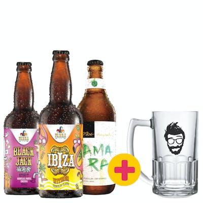 Combo Noi Amara | Farra Bier Ibiza | Farra Bier Black Jack + Caneca
