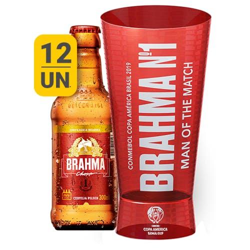 Kit Copo + 12 unidades de Brahma 300ml | Vasilhame Incluso