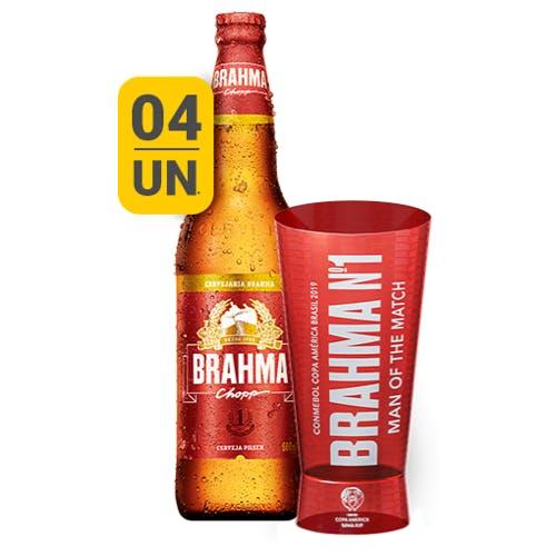 Kit Copo + 4 unidades de Brahma 600ml | Vasilhame Incluso