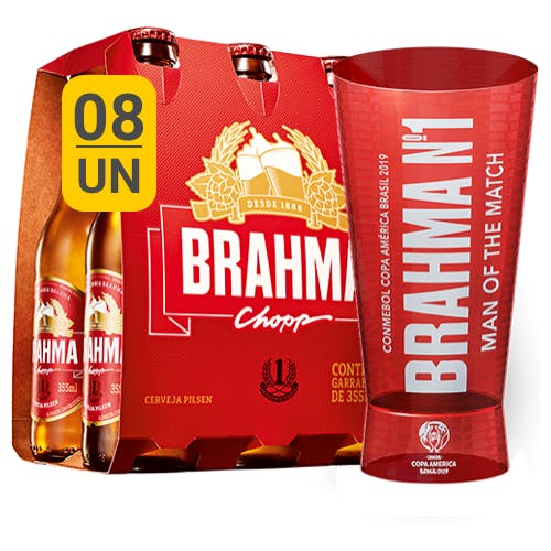Kit Copo + 8 unidades de Brahma 355ml - Unidade