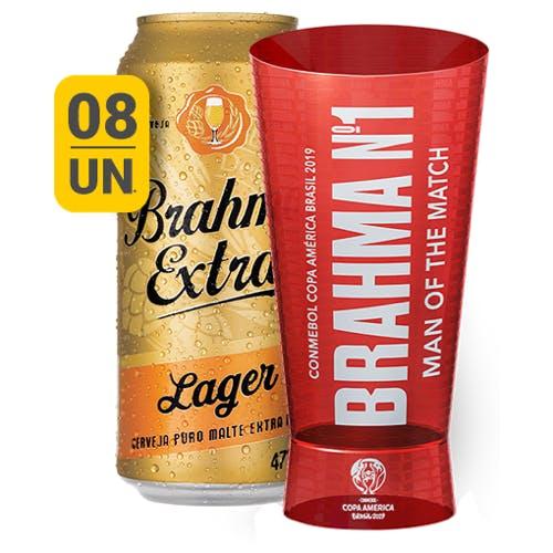 Kit Copo + 8 unidades de Brahma Extra Lager 473ml