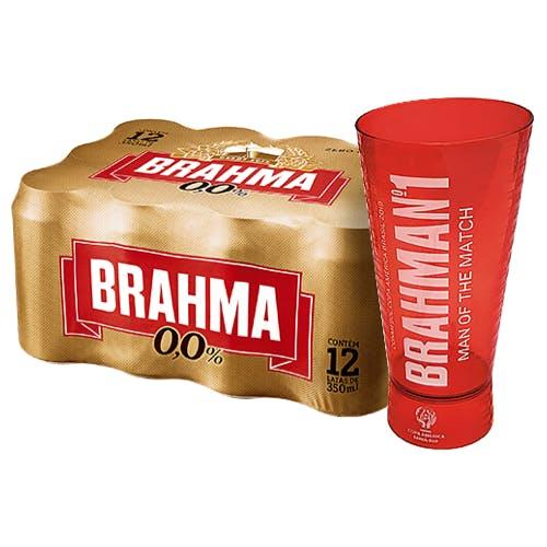 Kit Copo + 12 unidades de Brahma Zero 350ml