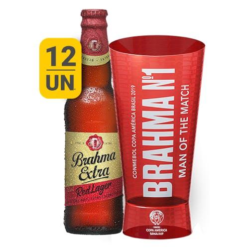 Kit Copo + 12 unidades de Brahma Extra Red Lager 355ml
