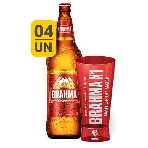 Kit Copo + 4 unidades de Brahma 1L | Vasilhame Incluso
