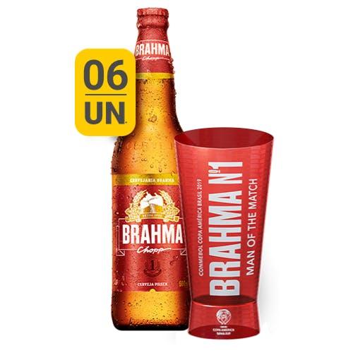Kit Copo + 6 unidades de Brahma 600ml | Apenas o Líquido