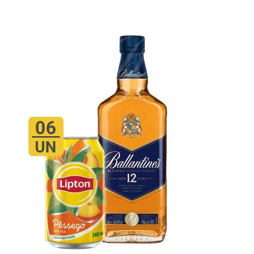 Combo Lipton +  Ballantines (6 Lipton Pêssego 340ml + 1 Whisky Ballantines 12 anos 750ml)