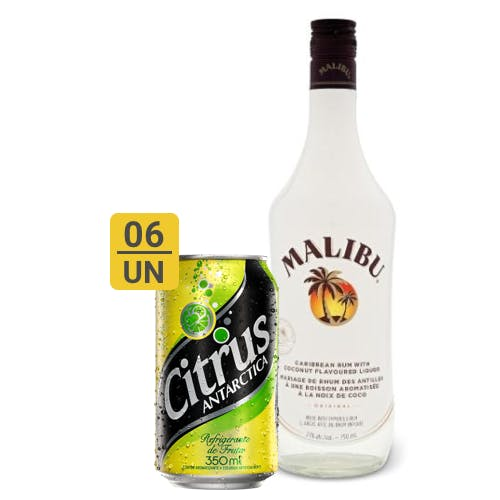 Combo Citrus + Malibu  (6 Citrus 350ml + 1 Malibu Rum Curibenho 750ml)
