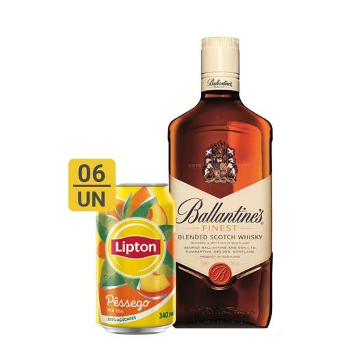 Combo Lipton + Ballantines (6 Lipton Pêssego 340ml + 1 Whisky Ballantines Finest 750ml)