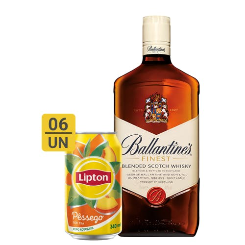 Combo Lipton + Ballantines (6 Lipton Pêssego 340ml + 1 Whisky Ballantines Finest 1L)