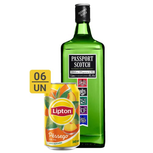 Combo Lipton + Passport Scotch (6 Lipton 340ml + 1 Passport Scotch Whisky Escocês 1L)