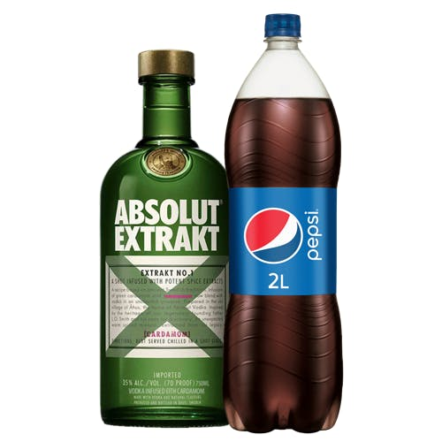 Combo Pepsi + Absolut  (1 Pepsi 2L + 1 Absolut Vodca Extrakt Sueca 750ml)