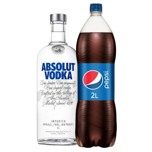 Combo Pepsi + Absolut  (1 Pepsi 2L + 1 Absolut Vodka Original Sueca 1L)