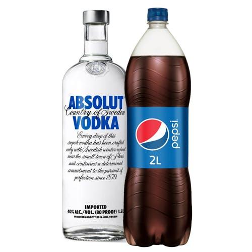 Combo Pepsi + Absolut  (1 Pepsi 2L + 1 Absolut Vodka Original Sueca 1,5L)