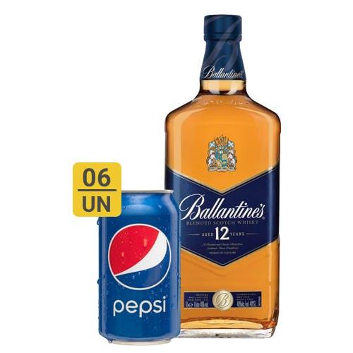 Combo Pepsi +  Ballantines (6 Pepsi 350ml + 1 Whisky Ballantines 12 anos 1L)