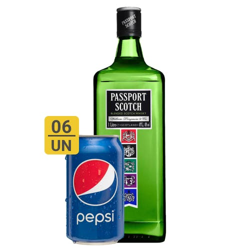 Combo Pepsi +  Passport Scotch (6 Pespi 350ml + 1 Passport Scotch Whisky Escocês 1L)